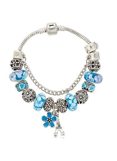 Angemiel Mavi Paris Figürlü Charmlı Bileklik Renkli